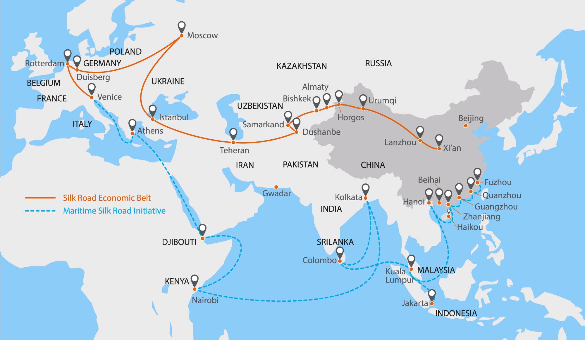 Visualisierung der Seidenstraße auf einer Karte