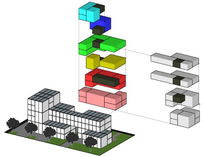 3D-Visualisierung eines modularen Gebäudes
