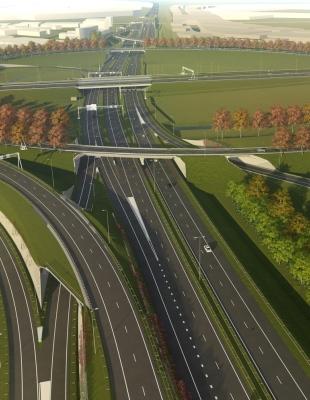 Visualisatie van plannen rondom knooppunt Hoevelaken waarvoor het eerste digitale en interactieve MER (Milieueffectrapport) is ontwikkeld.