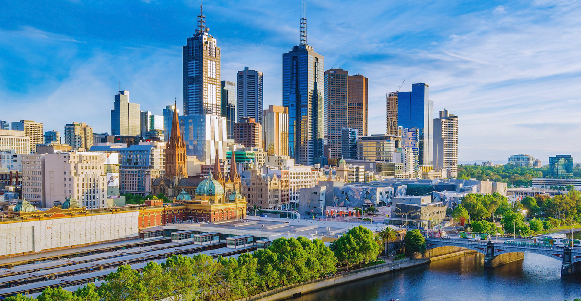 Aerial view of Melbourne skyline overlooking Federation Square