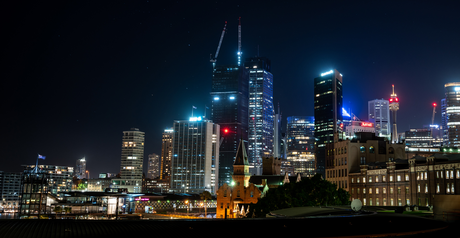 A view of Sydney office buildings at night
