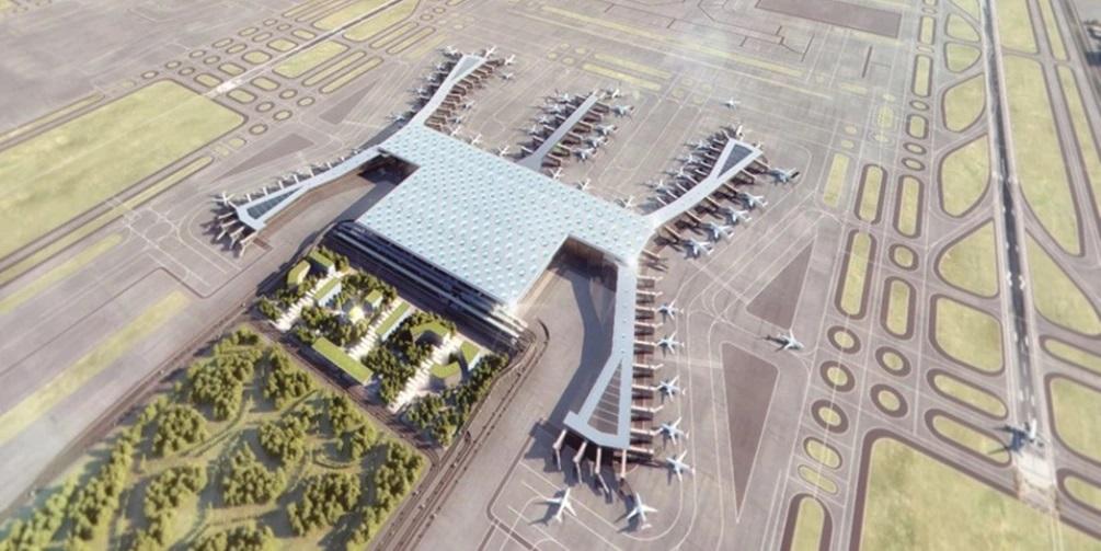3D-Visualisierung des Flughafens aus der Vogelperspektive