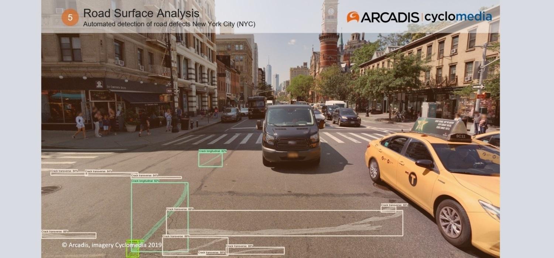 Beeld automatische detectie met defecten aan NYC (New york City) wegen