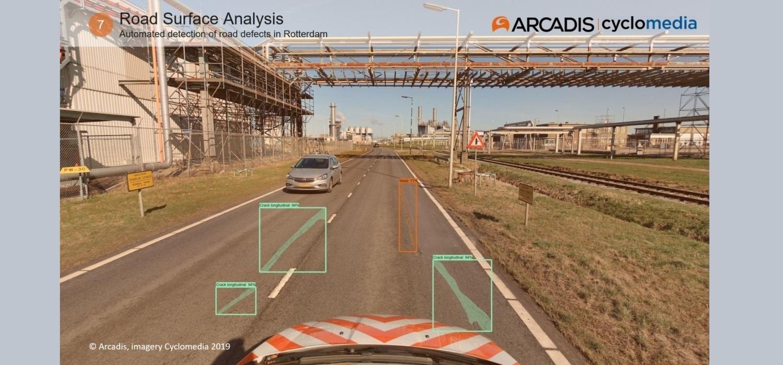 Beeld automatische detectie met defecten aan Rotterdamse wegen