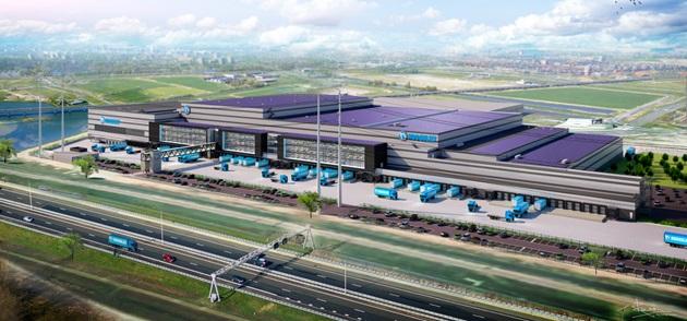 Visualisatie vanuit lucht van distributiecentrum Hoogvliet in Bleiswijk