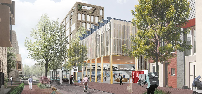 Visualisatie Communityhub met parking in Strandeiland voor het verbeteren van de mobiliteit