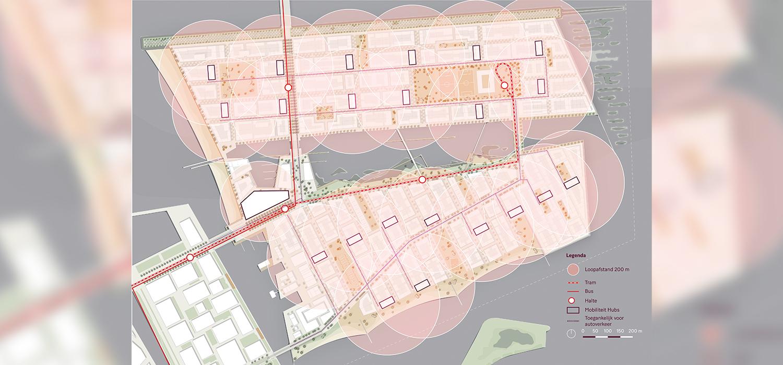 Visualisatie plattegrond Community hub voor het verbeteren mobiliteit in Strandeiland