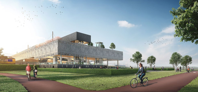 Visualisatie gevel van nieuw verkeersknooppunt station Lansingerland-Zoetermeer.