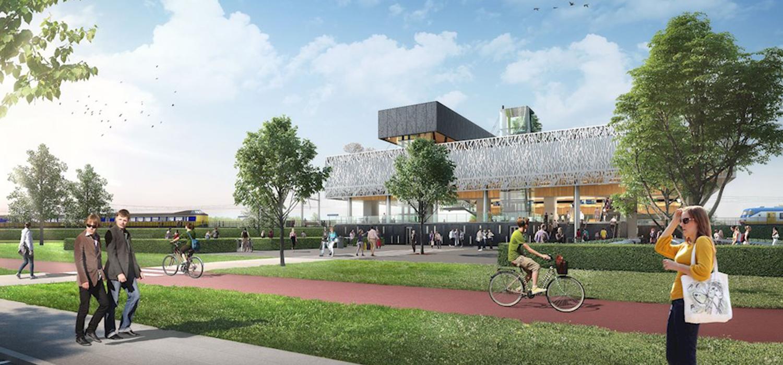 Visualisatie gevel en omgeving van nieuw verkeersknooppunt station Lansingerland-Zoetermeer.