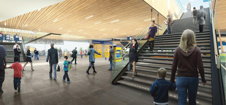 Visualisatie trapopgang van nieuw verkeersknooppunt station Lansingerland-Zoetermeer.