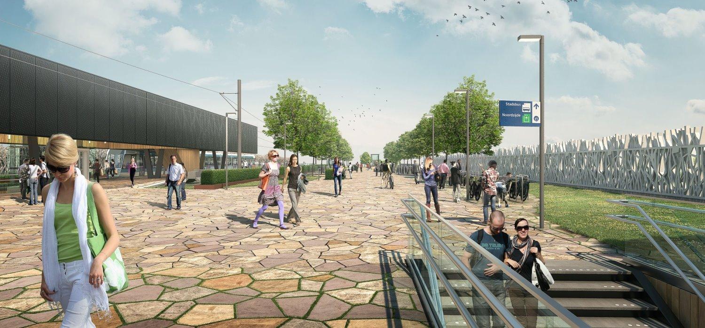Visualisatie omgeving van nieuw verkeersknooppunt station Lansingerland-Zoetermeer.