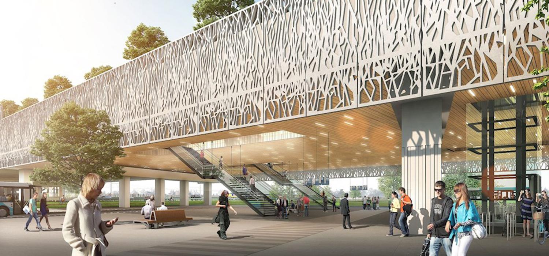 Visualisatie opengewerkte gevelranden van nieuw verkeersknooppunt station Lansingerland-Zoetermeer.