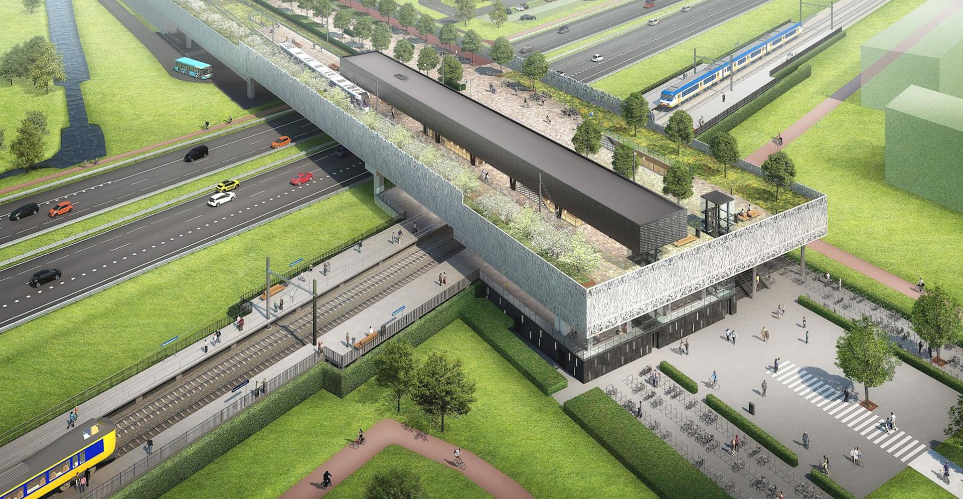 Visualisatie luchtfoto van nieuw verkeersknooppunt station Lansingerland-Zoetermeer.