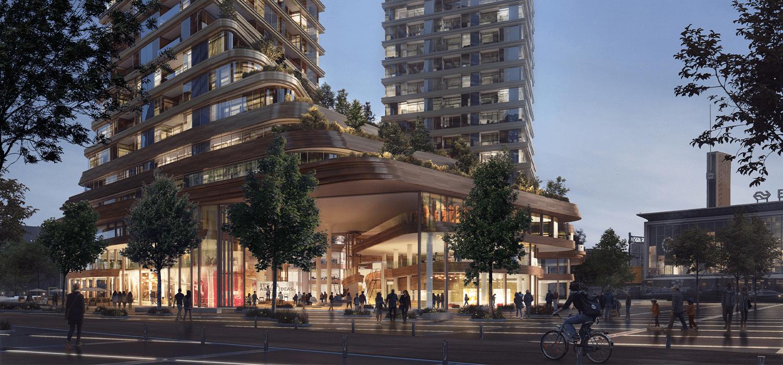 Visualisatie aanzicht van twee van de drie torens op district E in Eindhoven
