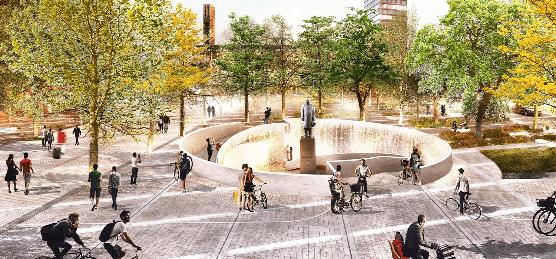 Visualisatie van entree fietsenstalling