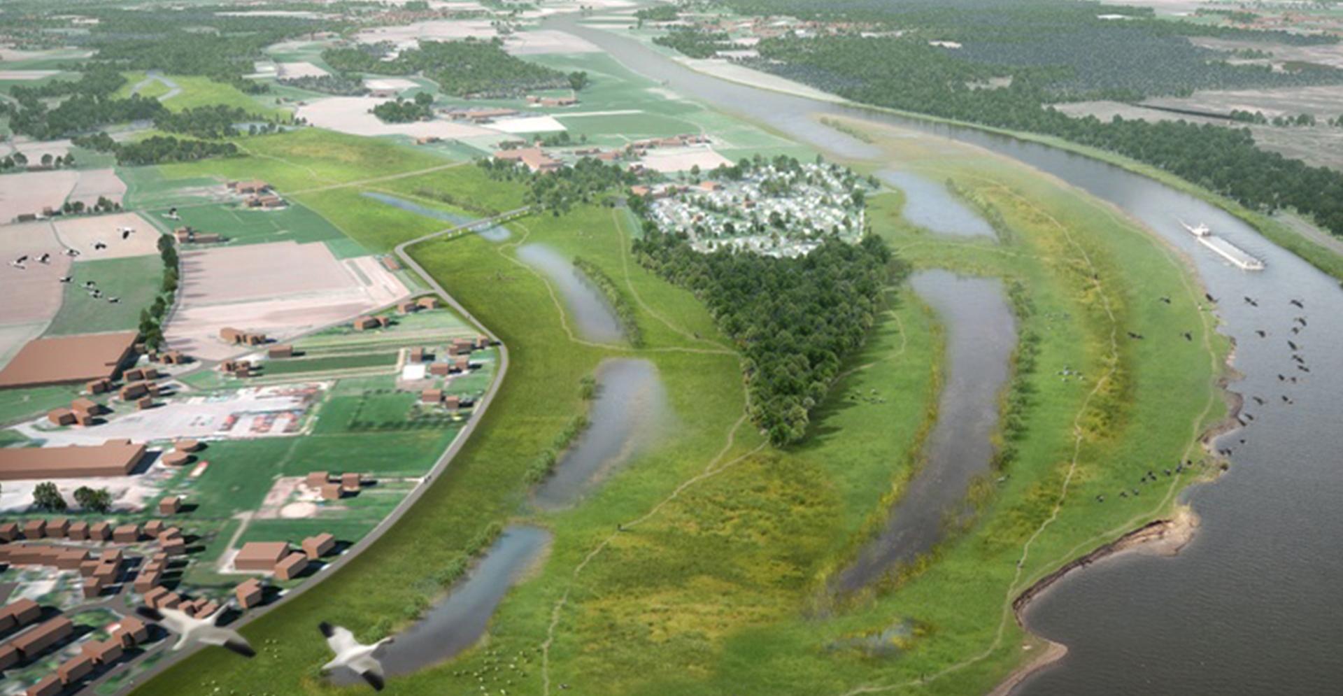 Luchtfoto visualisatie van een bocht in de Maas voor het Hoogwaterbeschermingsprogramma.