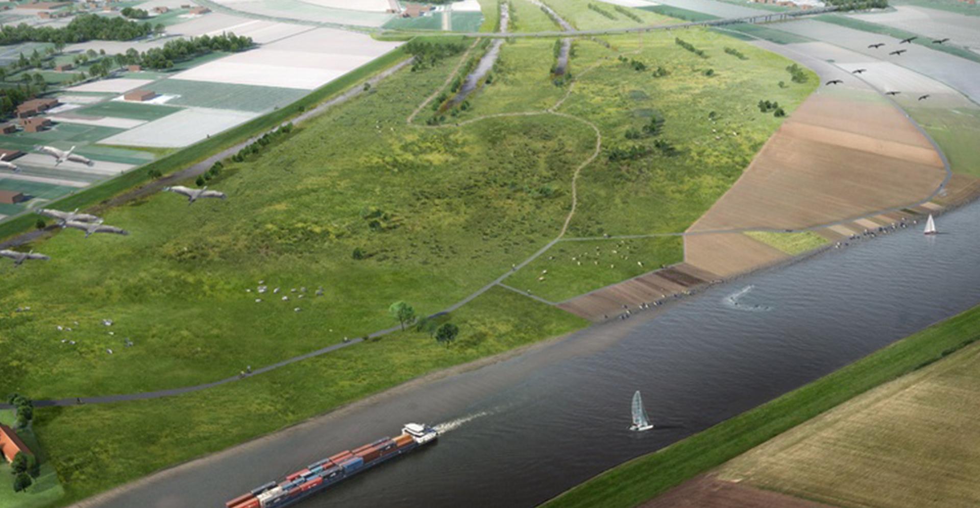 Luchtfoto visualisatie van de Maas voor het Hoogwaterbeschermingsprogramma.