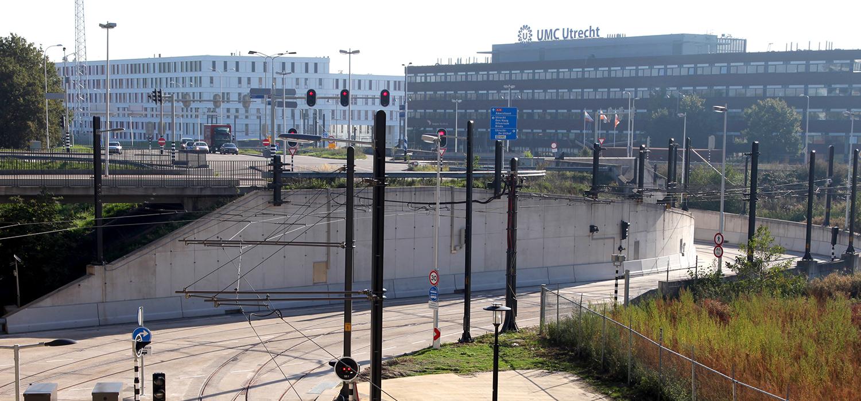 Tunnelbak waarin de tram rijdt bij de Uithoflijn in Utrecht