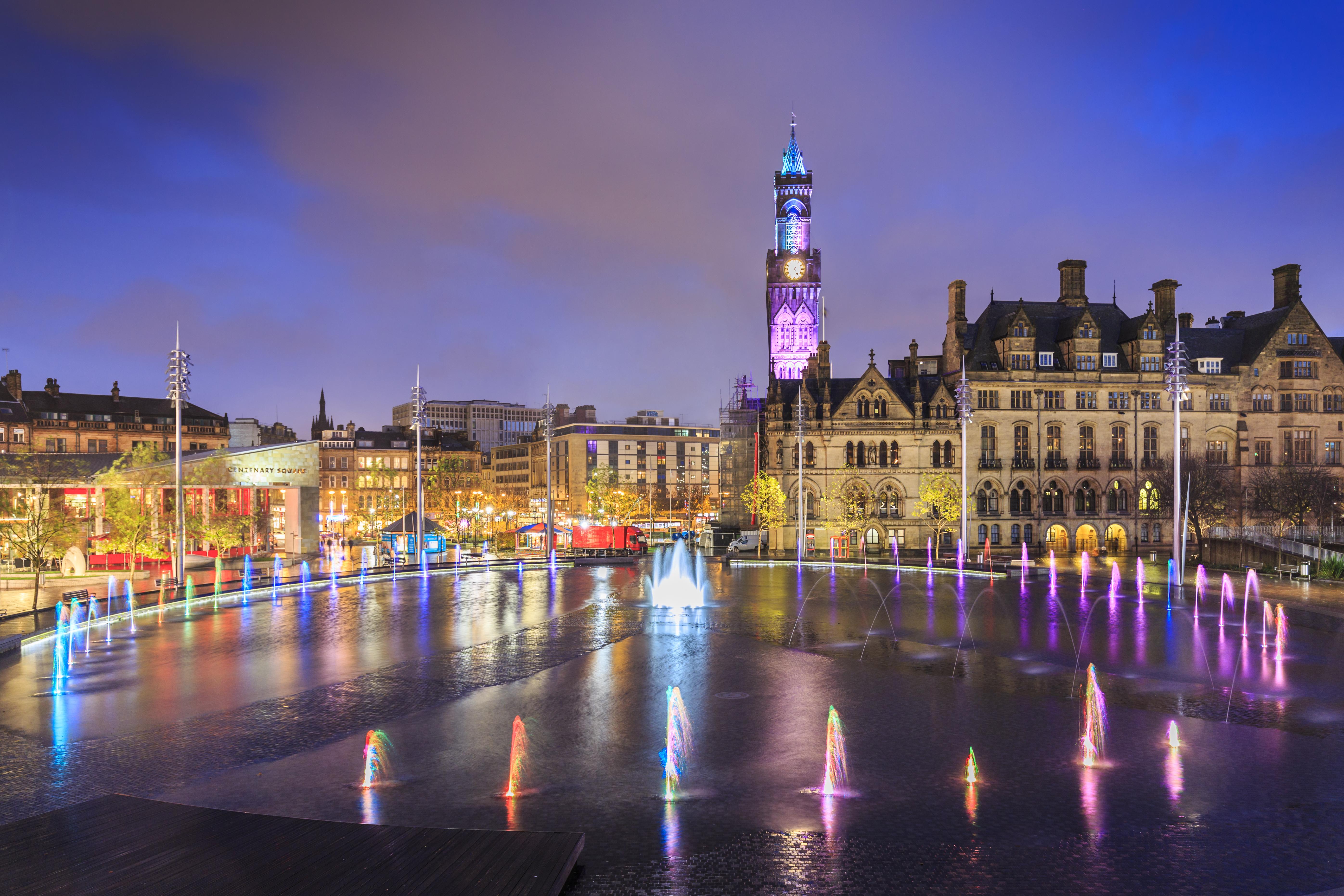 Bradford City Park at night